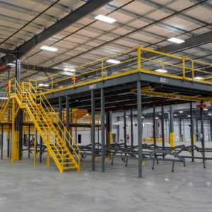 Industrial Straight Stair Attaching to Mezzanine