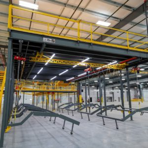 Mezzanine with Straight Stair and Overhead Crane Below Floor