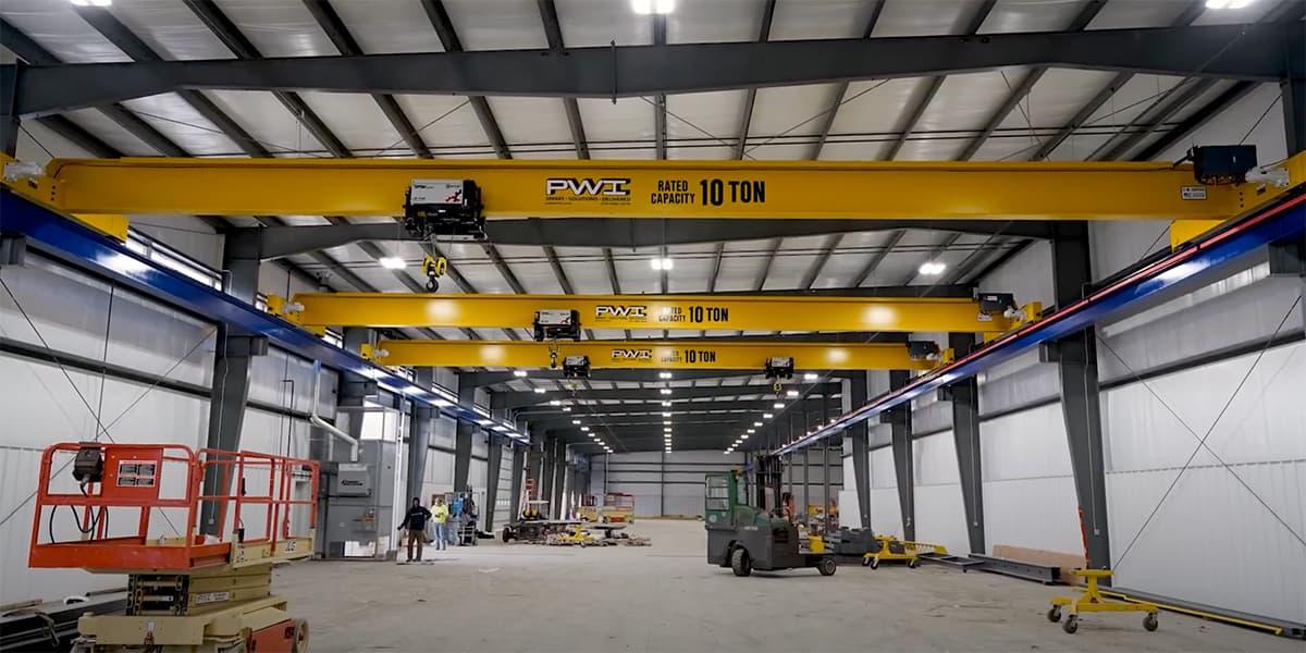 3 Overhead Cranes in PWI's New Building